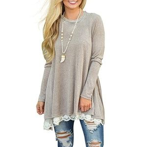 Long Sleeve Lace Scoop Neck A-line Tunic Blouse